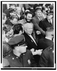 Fidel Castro and Nikita Khrushchev make their way in the midst of a crowd. World Telegram & Sun photo by Herman Hiller, 1960