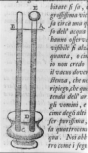 Page in Lezioni accademiche; with early barometer created by Torricelli, 1715