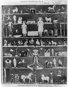 Advertisement for Pictorial Toy Catalogue No. 2 showing composite of many toys on shelves, 1887