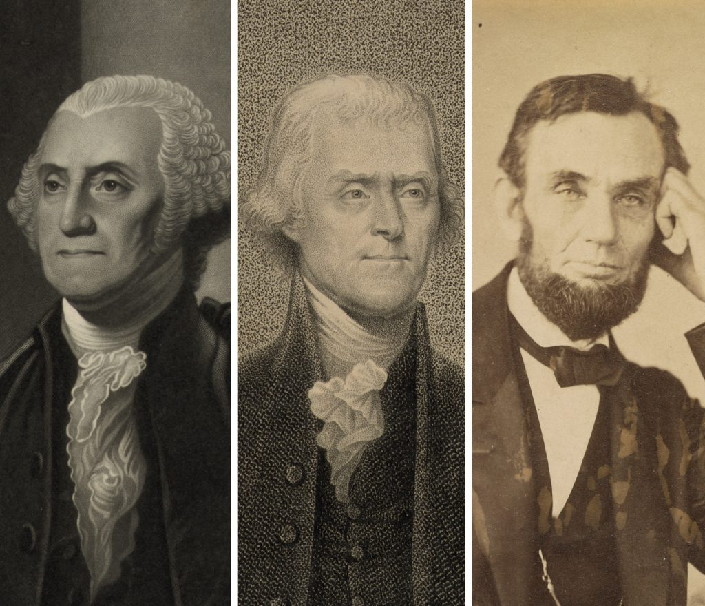 Presidents Washington, Jefferson and Lincoln