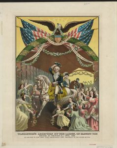 Washington's reception by the ladies, on passing the bridge at Trenton, N.J. April 1789, on his way to New York to be inaugurated first president of the United States. John Jacob Hipp, 1897