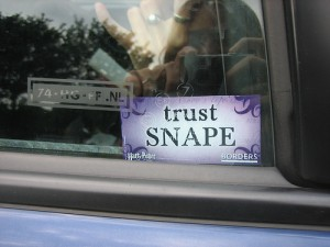 "a picture in a window that says ""trust Snape"""