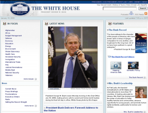 whitehouse.gov page on the morning of Jan. 20, 2009