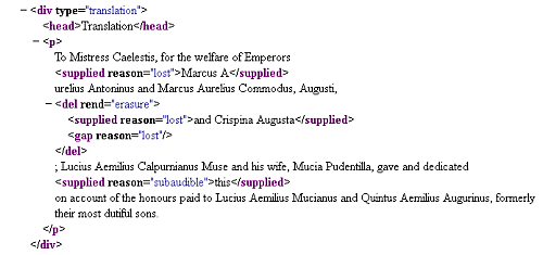 Figure 1. Sample of marked-up text following Text Encoding Initiative guidelines from the Inscriptions of Roman Tripolitania Project