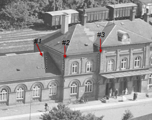 "Figure 2.  Image from a 4x5-inch aerial negative marked to indicate ""edge"" locations that can be used to measure spatial frequency response (SFR).  Courtesy of the Danish Royal Library."