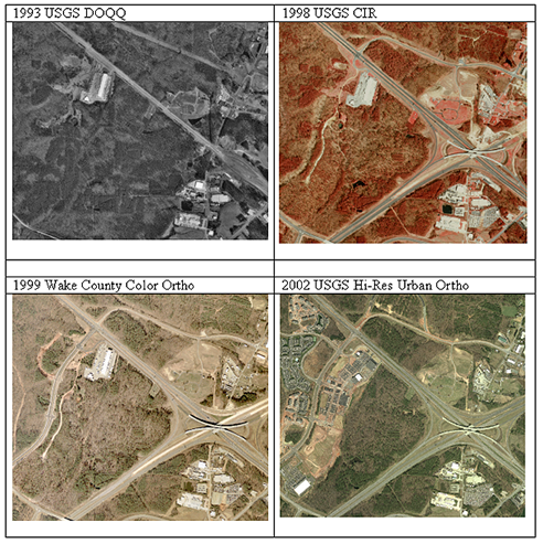 Change over time: these aerial raster images from 1993 through 2002 portray the construction of the interchange of Interstate 540 and U.S. Highway 70 just north of the Raleigh-Durham International Airport.  Courtesy Steve Morris.