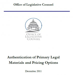 The cover of the Authentication of Primary Legal Materials and Pricing Options white paper.