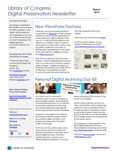 March 2012 Library of Congress Digital Preservation Newsletter