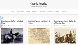 Screenshot of the Cosmic America Website.