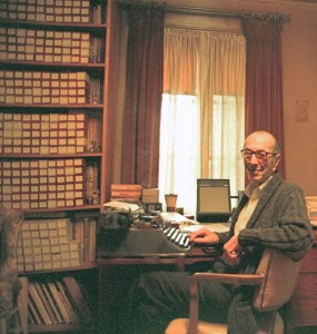 Albert Hoxie in his home slide library