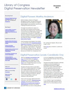 December 2012 Library of Congress Digital Preservation Newsletter