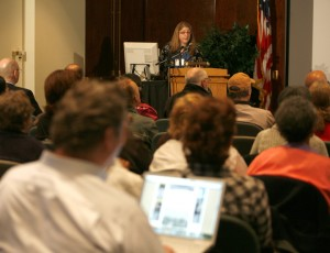 Preservation Directorate photograph conservator speaking at our 2010 Personal Digital Archiving Day. Credit: Abby Brack