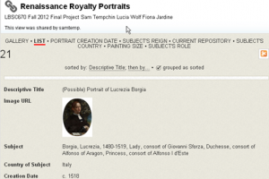 List Display of Royalty Portraits