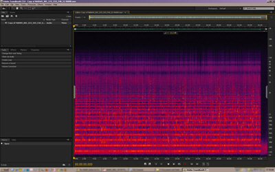 Many of the NABWH recordings were of poor quality, and noise reduction editing to copies of the digital recordings was necessary before sending them to the transcriber. This screenshot shows the horizontal bands of a particularly severe 60Hz hum with harmonics up the frequency scale, from a recording of a March 30, 1978 focus group organized by the NCNW. NPS Image.