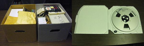 Before and After: During the NABWH recordings digitization process, tapes were transferred onto professional-quality metal reels and stored in inert plastic cases. On the left are the original enclosures in which the reel-to-reel tapes were found; the right shows how the storage was upgraded. NPS Photos.