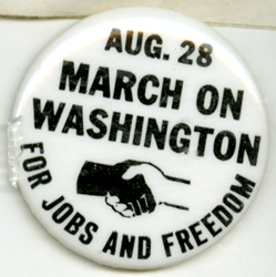 Button worn at 1963 March on Washington, Williams College Digital Collections