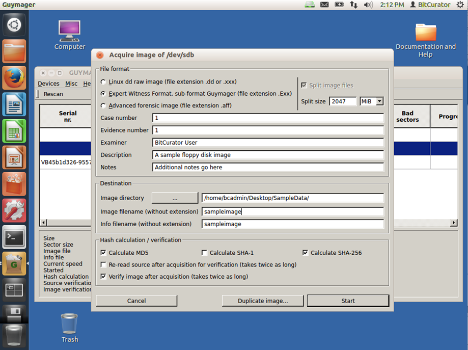 Here you see the interface for Guymager, the tool BitCurator uses to create disk images.