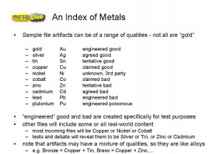 An Index of Metals demonstrating a possible range of sample file qualities from gold (perfect) to plutonium (poisonous). Slide courtesy of Oliver Morgan, MetaGlue, Inc.