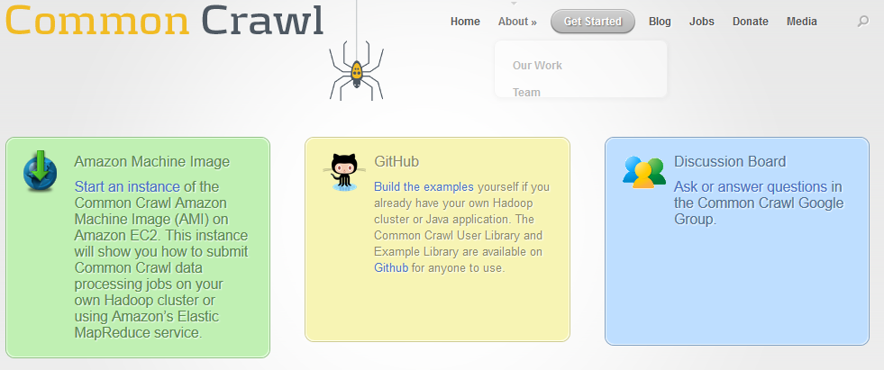Common crawl invites users to get started by starting a machine image, building examples, and joining in on discussions.
