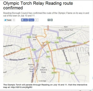 A torch relay map from the 2012 site collection