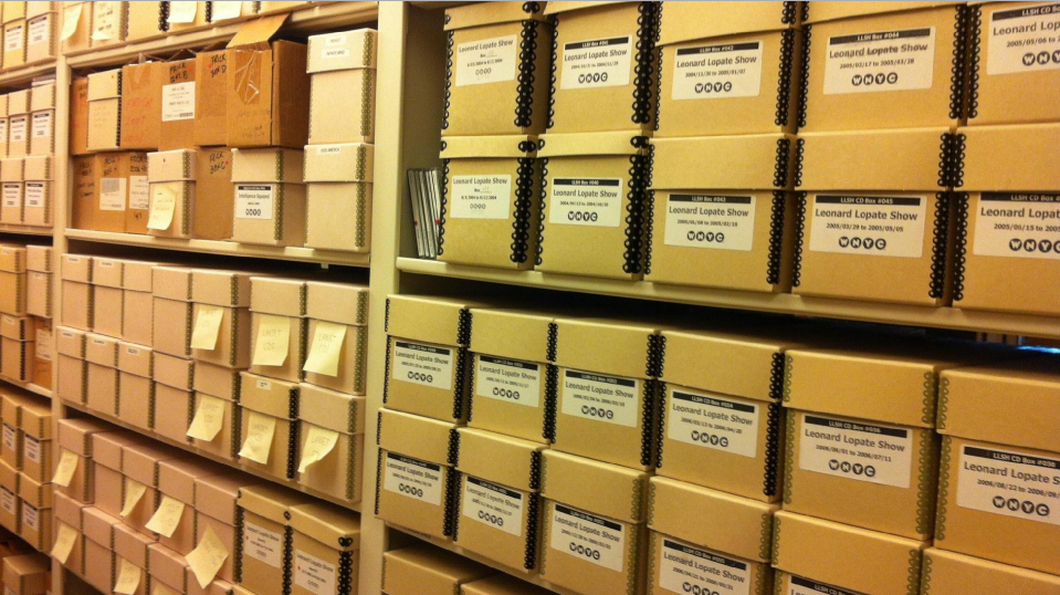 Image Caption: Boxes of broadcast recordings stored on CD-R in WNYC's archive.