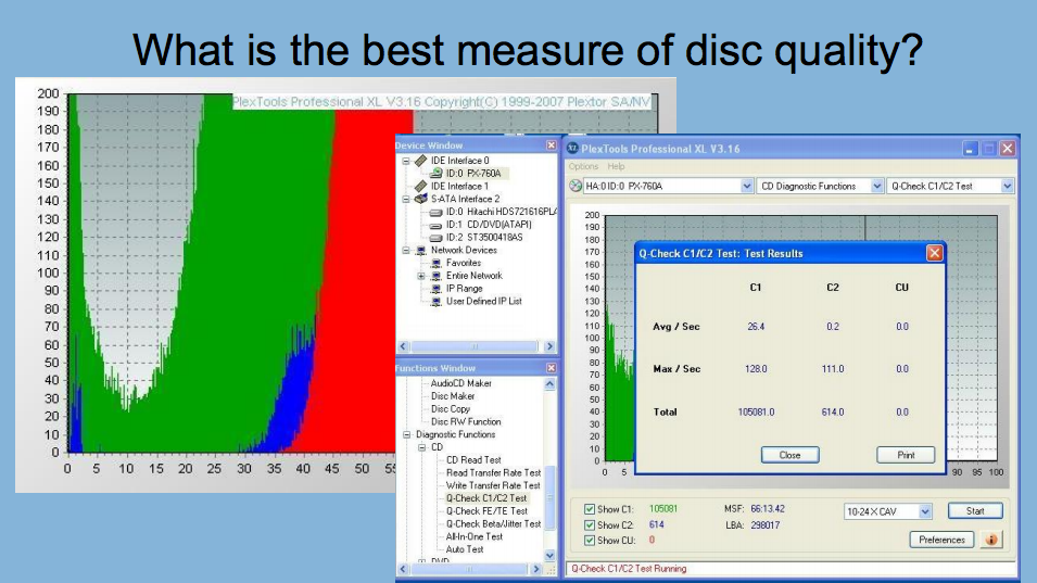 "Slide from recent presentation on the project asking ""what is the best measure of disc quality?"""
