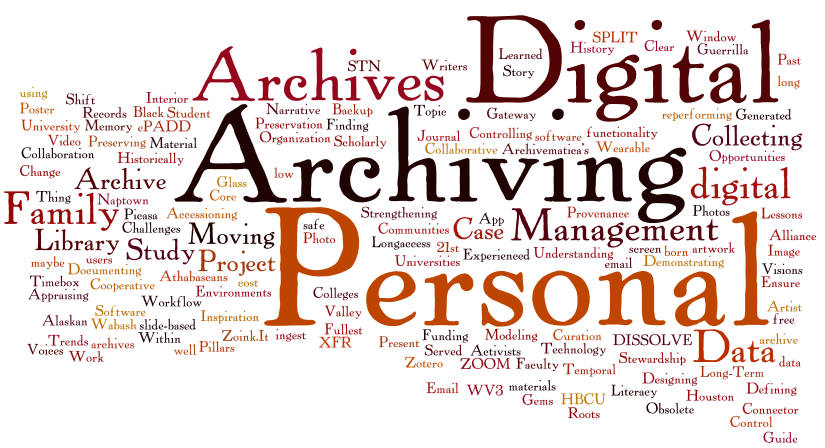 Tag cloud of PDA14 presentation titles.