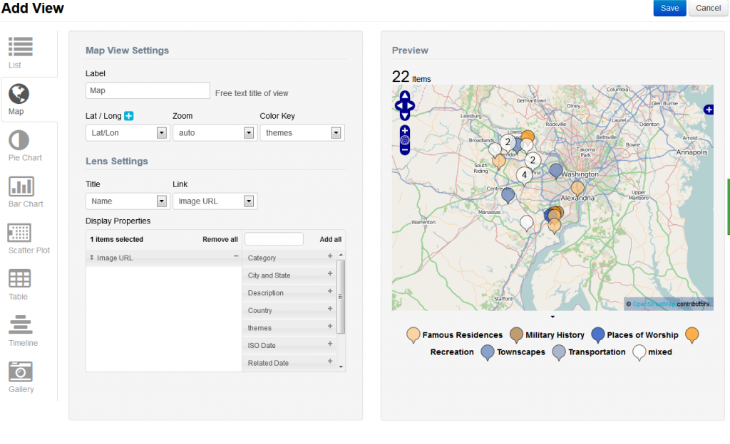 An example of the interface for configuring a map in the new beta version of Viewshare.
