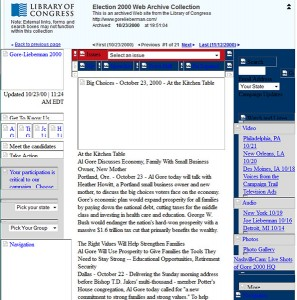 Screenshot from the Election 2000 Web Archive of gorelieberman.com, captured October 23, 2000.