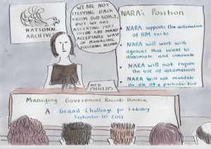 """NARA's grand challenge for industry"" cartoon created by James Lappin. Presented with permission from James Lappin."