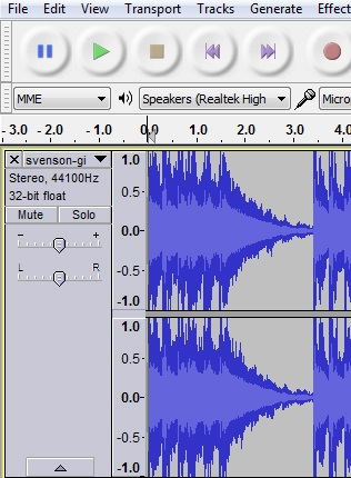 Example of viewing the waveform of an audio recording in Audacity.