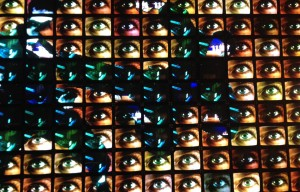 Nam June Paik's Megatron/Matrix, an 8-Channel TBMA piece with 215 monitors at the Smithsonian American Art Museum. Photo by Erica Titkemeyer.