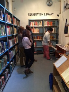 Photo from class field trip to the Reanimation Library. Provided by Shannon Mattern.