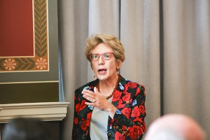 Christine Borgman provides the keynote address at the meeting. Photo credit: Amanda Reynolds