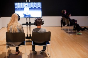 Viewing Gerard Byrne's Subject at SFMOMA. Photo by Andria Lo