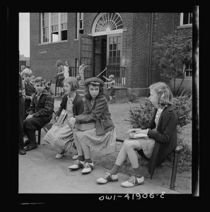 Southington, Connecticut. Young people watching a game.  1942 May 23-30. Farm Security Administration - Office of War Information Photograph Collection.  Prints and Photographs Division