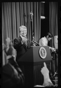 President Jimmy Carter at a press conference, Marion Trikosko, 1977, Library of Congress Prints and Photographs division.