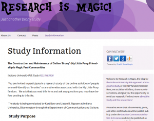 Screenshot of the Research is Magic blog, which serves as a space for dialog with research participants.