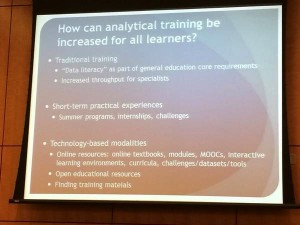 Slide from presentation on approaches to analytical training for working wtih data for all learners.