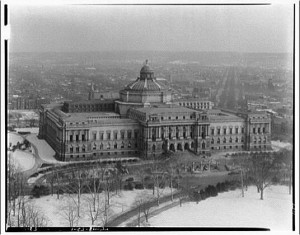 View of Library of Congress from U.S. Capitol dome in winter. Library of Congress, Prints & Photographs Division, by Theodor Horydczak.