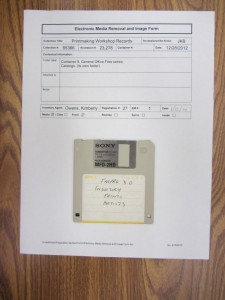Photo of disk with electronic media removal form.