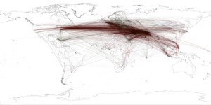 Figure 2 - Network of locations that most frequently co-occur with each other in coverage of Osama Bin Laden - center point is 200km from where he was ultimately found