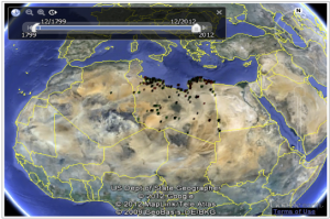 Figure 4 - Interactive Google Earth interface to Wikipedia's coverage of Libya
