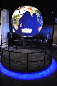 Figure 9 - Map of global protest and conflict activity drawn from the GDELT Project displayed on the NOAA Science on a Sphere.