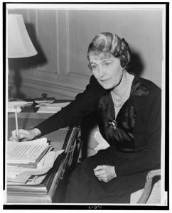 Marjorie Merriweather Post Hutton Davies, three-quarter length portrait, seated at desk, facing left. Library of Congress, Prints & Photographs Division, by C.M. Stieglitz. 1942.
