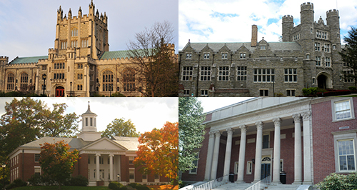 Clockwise from top left: Vassar, Bryn Mawr, Wheaton  and Amherst Colleges. Photo of Thompson Library at Vassar from Wikimedia by Jim Mills.