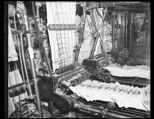 "<a href=""//www.loc.gov/pictures/item/hec2013010245/"">Newspapers coming off press, [1936]</a>. Courtesy of the Library of Congress Prints and Photographs Division."