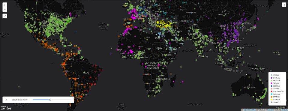 Figure 5 - Click to see a live animated map of the primary language of worldwide news coverage over the last 24 hours mentioning each location
