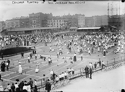 Photo of Children planting in Thos. Jefferson Park, N.Y.C.