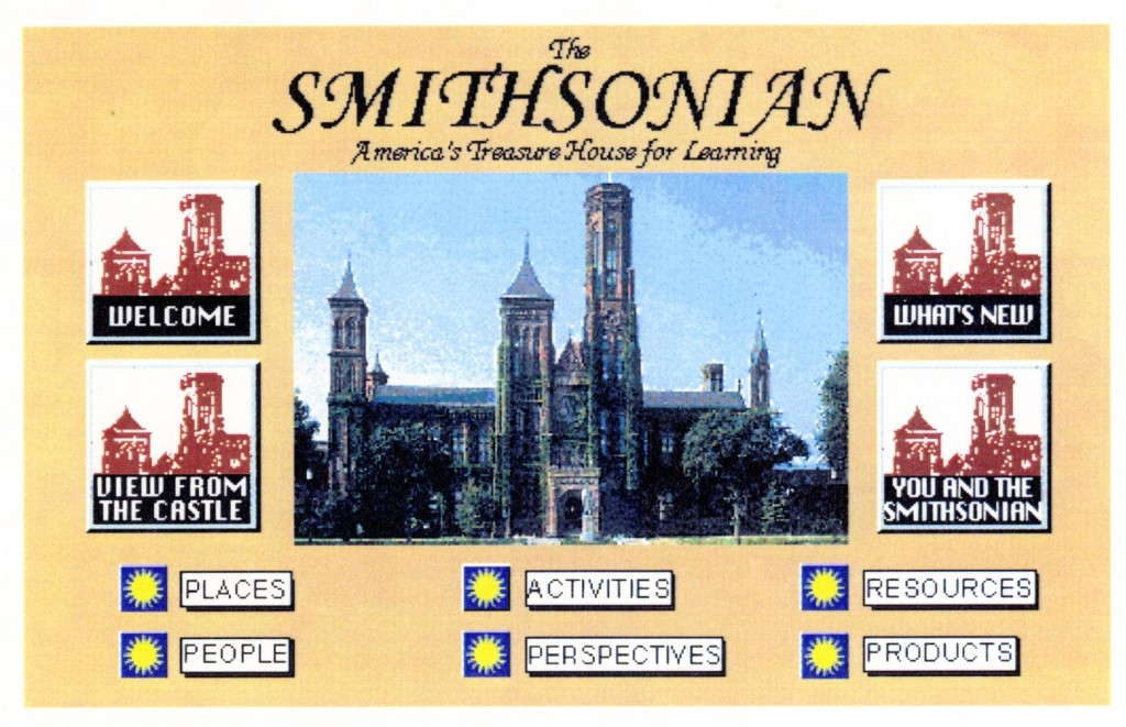 Image of the Smithsonian Institution's 1995 homepage. Credit: Smithsonian Institution Archives
